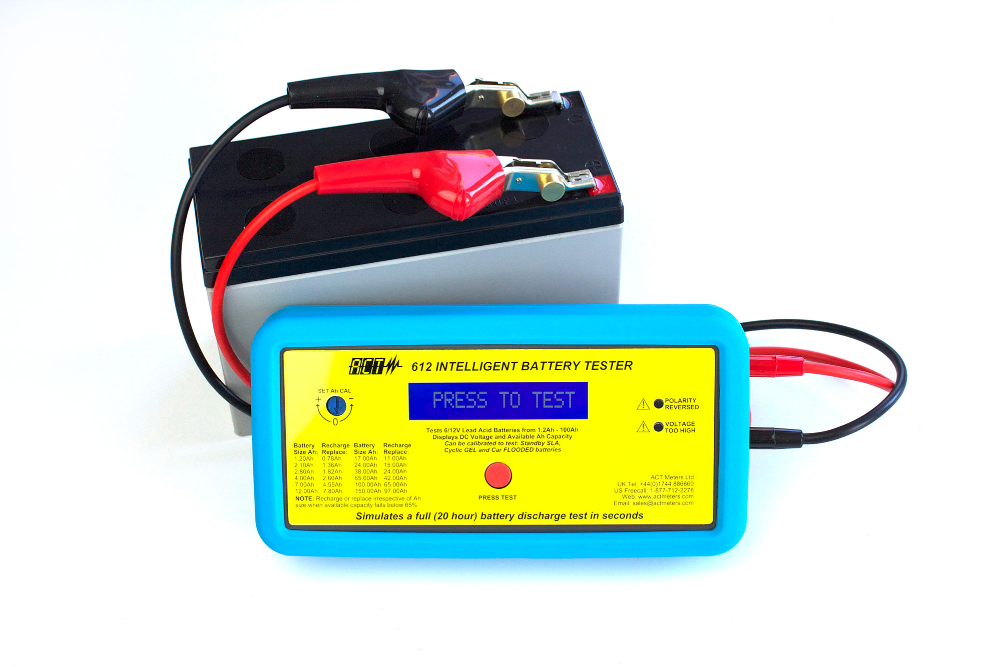 act 612 6v 12v lead acid intelligent battery tester act meters uk ltd. Black Bedroom Furniture Sets. Home Design Ideas