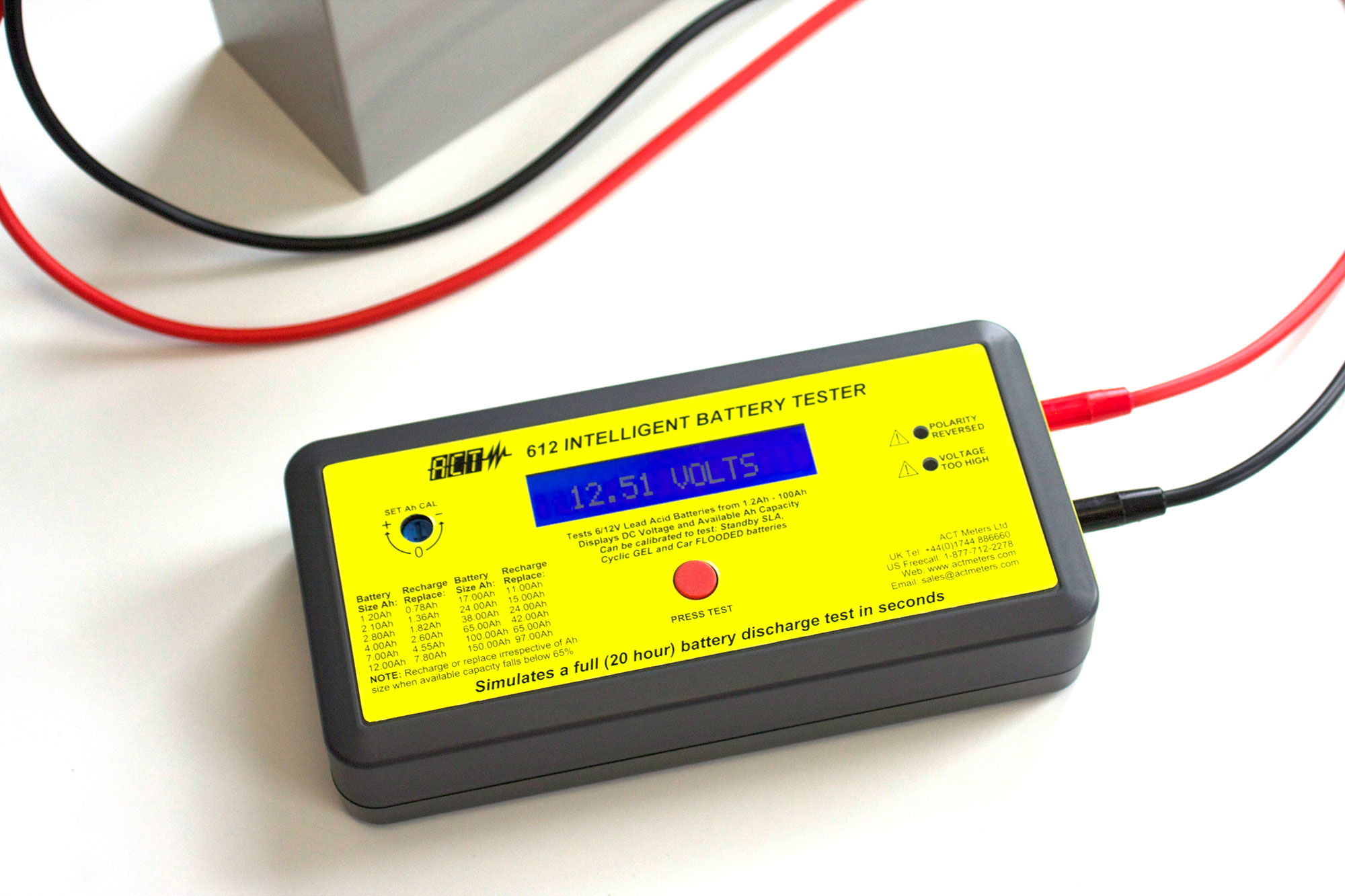 Act 612 6v 12v Lead Acid Intelligent Battery Tester Meters Uk Short Circuit Loading Take Seconds To Receive Accurate Ampere Hour Ah Capacity Results Of The Most Common Types